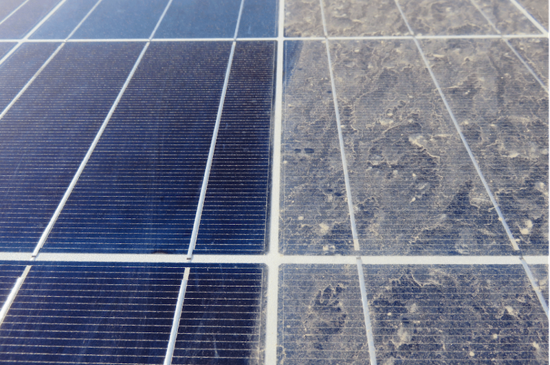 A dirty and clean solar panel