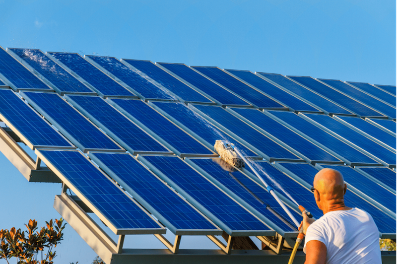 Cleaning solar panel by the owner